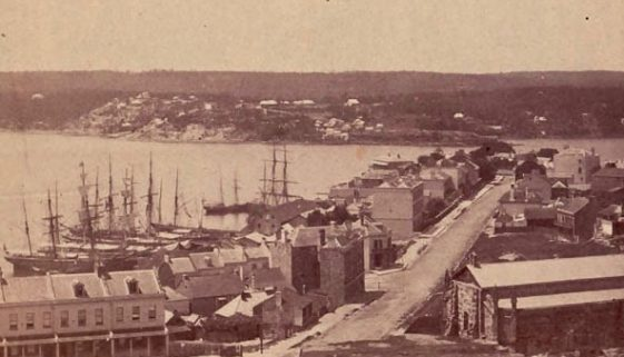 Argyle Place and Lower Fort Street from Observatory Hill 1860s stereoscope SLNSW CROP 2