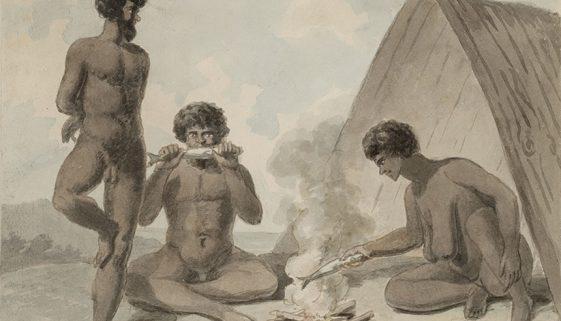 philip gidley king aborigines eating fish around a campfire c 1790 SLNSW CY3011:109